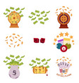 set of flat style bingo and casino icons symbols vector image vector image