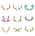 set of vintage deer antlers vector image vector image