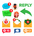 social media networks message icons set vector image