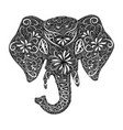 stylized fantasy patterned elephant hand drawn vector image