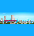 subway train over modern city panorama with high vector image vector image