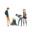 teen boy sitting on floor classmates mocking him vector image vector image