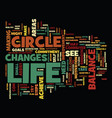 the circle of life the balance in life text vector image vector image