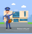 welcome to post banner postman pointing on office vector image vector image