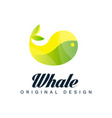 whale logo original design emblem can be used for vector image vector image