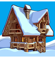 wooden house standing in the snow vector image vector image