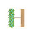 wooden leaves letter h vector image