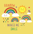 yellow poster with colorful rainbowscloudsun vector image vector image