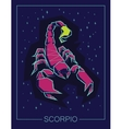 Zodiac sign Scorpio on night sky background vector image vector image