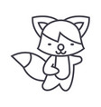 cute fox line icon sign on vector image