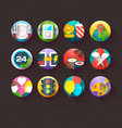 Textured Flat Icons for mobile and web Set 5 vector image