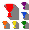 champions cup sign set of red orange yellow vector image