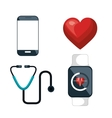 digital healthcare icons set isolated design vector image