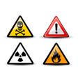 set of triangular warning hazard signs vector image