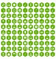 100 music icons hexagon green vector image vector image
