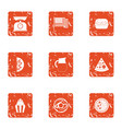 america food icons set grunge style vector image