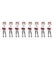 anime manga schoolgirl plaid red skirt tie pattern vector image vector image