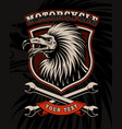 biker patch with vulture and crossed wrenches vector image vector image