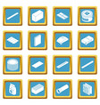 building materials icons set sapphirine square vector image vector image