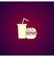 burger and paper cup with a drink symbol of fast vector image vector image