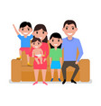cartoon happy family sitting on sofa vector image vector image
