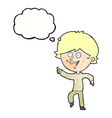 cartoon happy pointing man with thought bubble vector image vector image