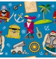 Cartoon pirates seamless pattern background vector image vector image