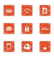 chemical invasion icons set grunge style vector image vector image