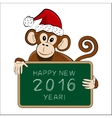 Chinese symbol 2016 - monkey with a greeting vector image vector image