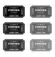 cinema ticket set vector image vector image