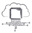 cloud storage data and cpu microprocessor icon in vector image