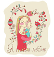 Color background with mother and baby and flowers vector image vector image
