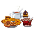 cookie jam and hot tea vector image
