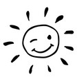 creative black and white happy winking sun vector image vector image