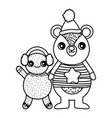 cute bear and gingerbread man with hat merry vector image vector image