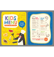 Cute colorful kids meal restaurant menu template vector image vector image
