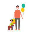 dad holding balloons son plays dog isolated vector image