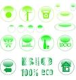 eco icon set green button vector image