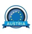 EU flag button with Austria ribbon vector image vector image