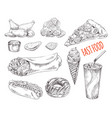 fast food monochrome set for promo vector image