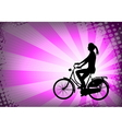 female bicyclist on abstract background vector image vector image