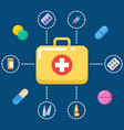 First aid kit concept - medicine icons set vector image