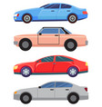 four cars isolated on white cabriolet and sedans vector image