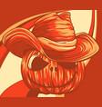 halloween pumpkin with hat cartoon vector image
