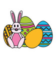 Happy easter rabbit eggs
