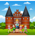 happy kids study tour in holstentor vector image vector image