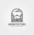 islamic architecture icon logo line art design vector image vector image