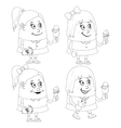 Little girls with ice cream set contour vector image