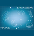 machine-building drawings on a blue - gray vector image vector image