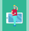 man in vr glasses and big device icon color poster vector image vector image